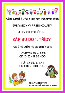 plakát na zápis 2018
