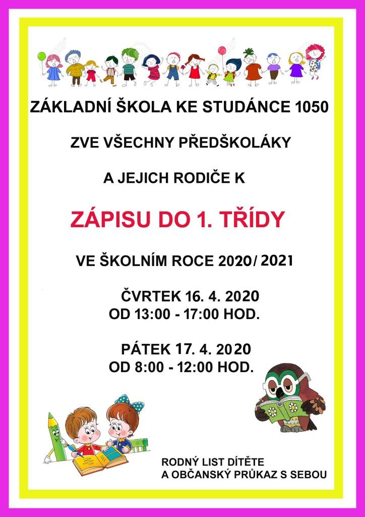 plakát na zápis 2020